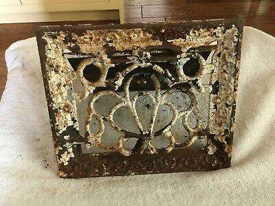 Antique 19th Century Ornate Cast Iron Wall Grate Vent Attaches To Wall