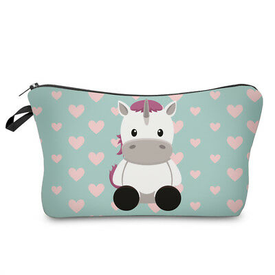 Unicorn Hearts Light Blue & Pink Toiletry Makeup Case Pouch - Fully Lined