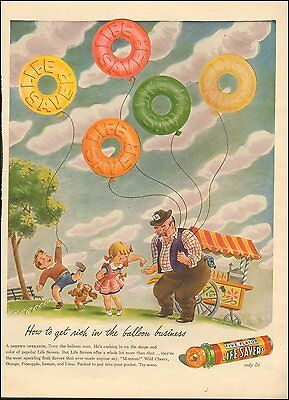 1941-Vintage ad for Life Savers Candy`Art Children`Red yellow Orange (041215)