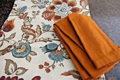 Table Runner & 6 Napkins, Fall Spice Colors, New w/o Tags