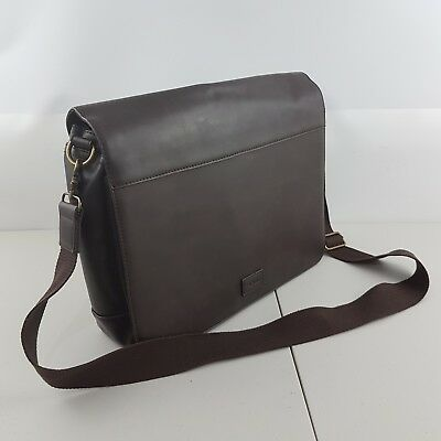 Safari Men's Leather Look Messenger Bag