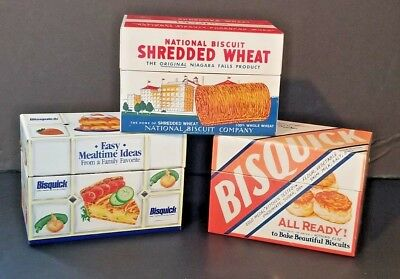 Vtg Bisquick Betty Crocker Shredded Wheat Nabisco Recipe Tins Extra's Lot of 3
