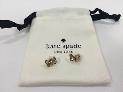 Kate Spade New York Mother of Pearl Butterfly Stud Earring with Kate Spade Bag