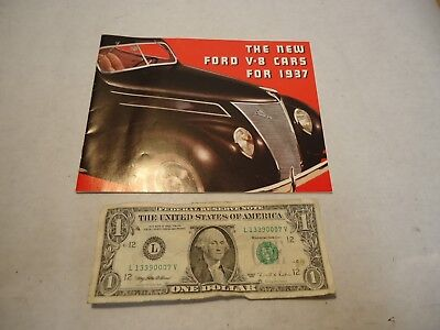1937 Ford New V8 Cars Sales Brochure that is in good shape - NR