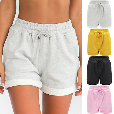 Womens Casual High Waist Pocket Bottom Shorts Summer Beach Cotton Hot Pants US