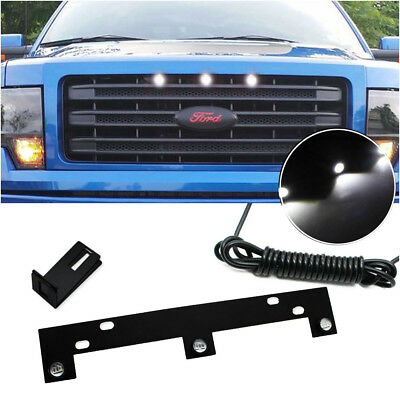 Perfect Fit Raptor Style White LED Grille Lights w/ Bracket For 09-up Ford F150