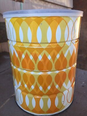 1970's Vintage Decorative Coffee Can 2# Yellow Geometric Patterned