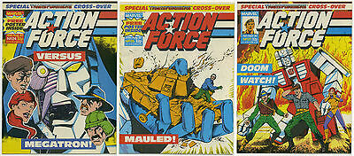 LOT OF 3 ACTION FORCE TRANSFORMERS COMICS VF Marvel UK Ancient Relics 24 26 27