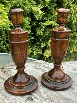 A Beautiful Pair of Vintage Antique Wooden Candlesticks*