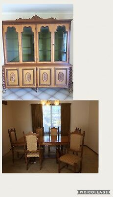 Antique  timber buffet and hutch display storage cabinet and 6 seater table