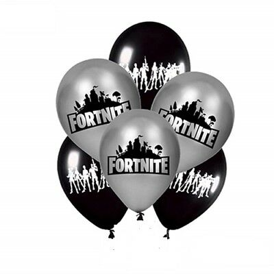 Fortnite Game Black Silver Balloons Birthday Party Decorations Latex Balloon UK
