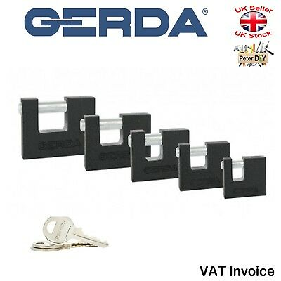 Gerda Black Cast Iron Padlock Security Straight Shackle 3 Keys 50-90 mm KZZT