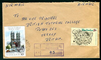 1977 Barbados. St James registered cover to Jersey. Silver Jubilee, Ligon Map