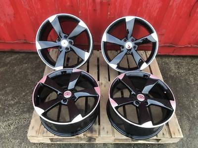 "4 X 18"" Ttrs Rotor Arm Style Black Alloy Wheels Audi A3 A4 A6 Tt Vw Golf Caddy"