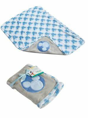 Disney Mickey Mouse Baby Boys Newborn Soft Fleece Blue  Blanket 75x100cm