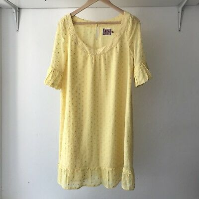 Juicy Couture Womens Yellow Polka dot Cotton Blend Shift Dress, Size 8