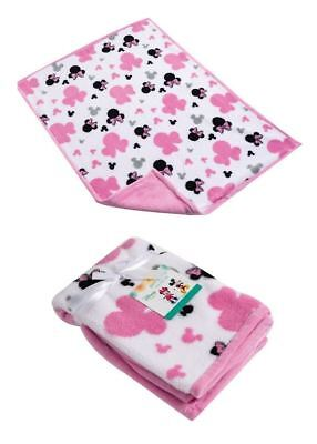 Disney Minnie Mouse Baby Girls Newborn Soft Fleece Blanket Pink 75x100cm