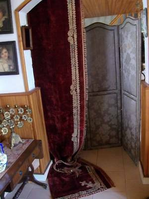 Royal Red Velvet & Tapestry French Antique Chateau Drape /Panel  1880s