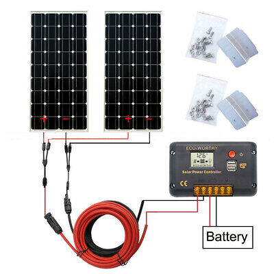 200W off grid Solar panel 12V Solar module & 20A LCD Controller for Camp RV Home
