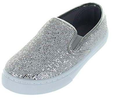 Chatterbox Girl's Lana Synthetic Casual Shoes Silver Size 11