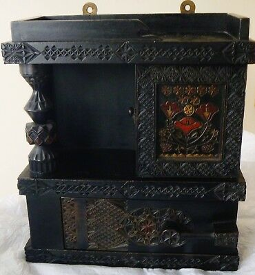 Russian Antique Wooden Carved Wall Cabinet- Abramsetvo -Arts & Crafts