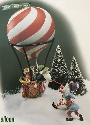 """Dept 56 Accessories ~ North Pole Series ~ """"DASH AWAY DELIVERY"""" HOT AIR BALLOON"""