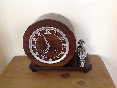 Art Deco 8 Day Wooden Hour/half Hour Chime Mantle Clock.