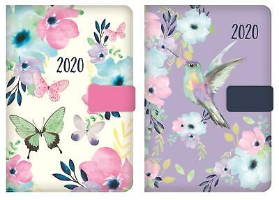 2019 A6 Day a Page Monthly Indexed Fabric Organiser Diary Butterfly Bird Design