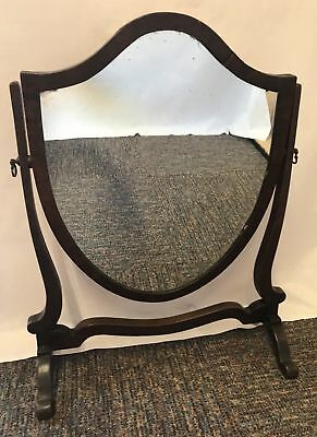 Vintage Shield Shaped Dressing Table Mirror with Nice Wood Surround Free UK P&P