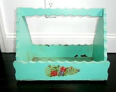 vtg garden tool caddy wood with chippy paint old decals shabby charming chic