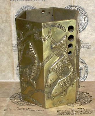 Vintage/Antique Chinese 6 Sided Brass Vase with Swiming Koi Fish Design Marked