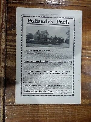 C 1914 Palisades Park New Jersey Building Lots Advertisement