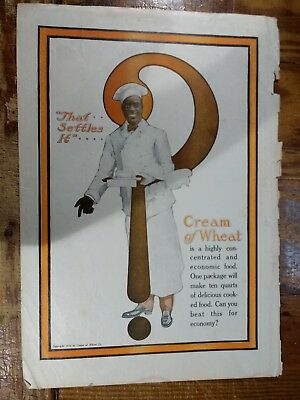 1918 Cream Of Wheat Advertisement With Rastus And Huge Question Mark