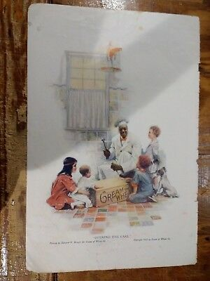 1918 Cream Of Wheat Advertisement With Rastus Opening A Case & Children