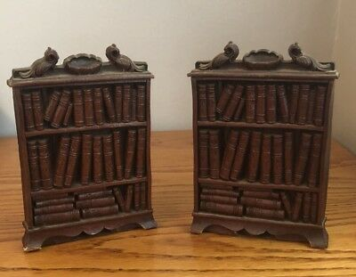 Syroco Wood Antique Bookshelf Bookends Library Vintage Ornate