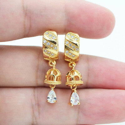 18K Yellow Gold Filled Mystical Hollow Topaz Zircon Women Hoop Earrings Party