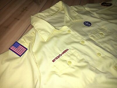 Boy Cub Scouts of America Leader Shirt Yellow Womens Size 46-48 Made in USA 1424