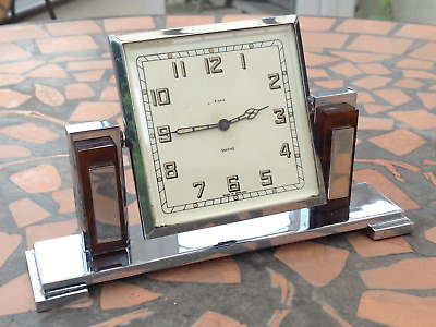 Art Deco Smiths 8 Day Mantle Clock....chrome/bakelite....spares Or Repairs