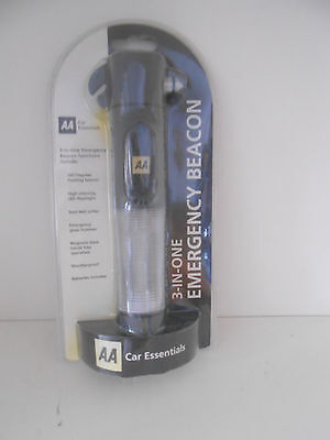 AA Car Essentials  3-n-1 Emergency Beacon with glass hammer and seat belt cutter