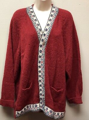 Women's L /xl  Red 100% Baby Alpaca Button Front Cardigan Peru Vintage?