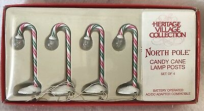 Dept 56 North Pole Accessories ~ CANDY CANE LAMP POSTS Set of 4~ #52621 (In Box)
