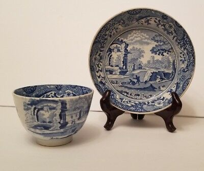 Antique Mid-19th Century Blue & White Porcelain Transferware Cup And Saucer/Bowl