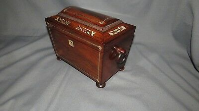 A FINE QUALITY 19th CENTURY WILLIAM IV INLAYED ROSEWOOD TEA CADDY