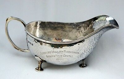 Sterling Silver Hunting Trophy Sauce Boat. Ashford Valley Foxhounds Kent 1931.