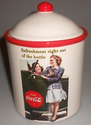 """Coca-Cola Cookie Jar Candy Jar Ceramic """"Refreshment right out of the bottle"""""""