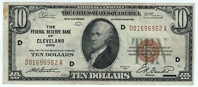 1929 - $10 Bill - National Currency - FRB of Cleveland Ohio - Crisp, Clean Note