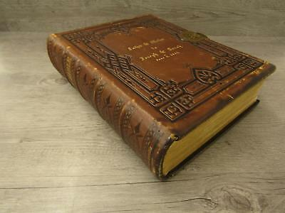 ANTIQUE LATE 1800S Family Bible Personalized Leather Bound Illustrated  Marriage
