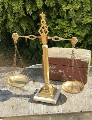 A Beautiful Set of Vintage Antique Brass and Marble Weighing Scales *