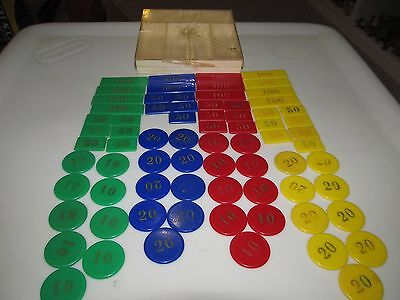 Vintage 1960's Square & Round Plastic Colored Poker Chips