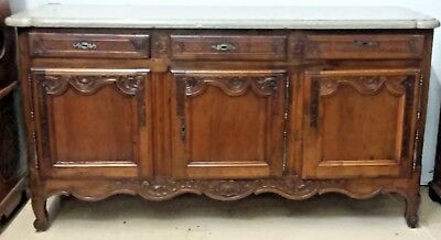 Antique French Louis XV Walnut Chest Sideboard Buffet Cabinet Marble Credenza